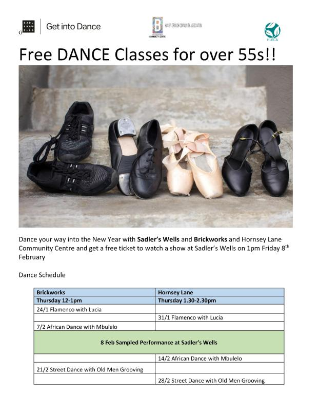 free dance classes - brickworks and hornsey lane poster