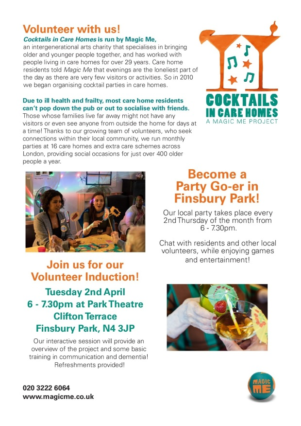 COCKTAILS IN CARE HOMES - PARK THEATRE INDUCTION POSTER-001