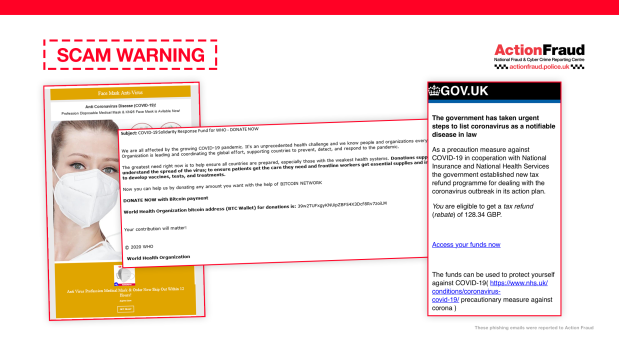 Coronavirus phishing examples March 2020 generic